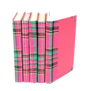 Bespoke Pink & Green Plaid Books - Set of 5 For Sale