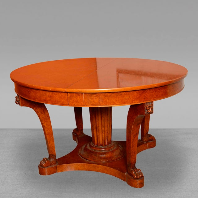 High End French Empire Revival Burled Walnut And Walnut Extension