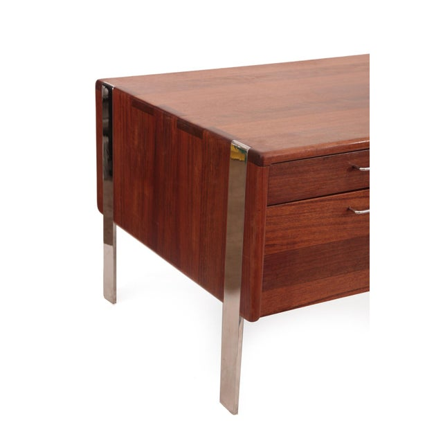 Solid Sedua and Steel Desk by Gerald McCabe - Image 4 of 6