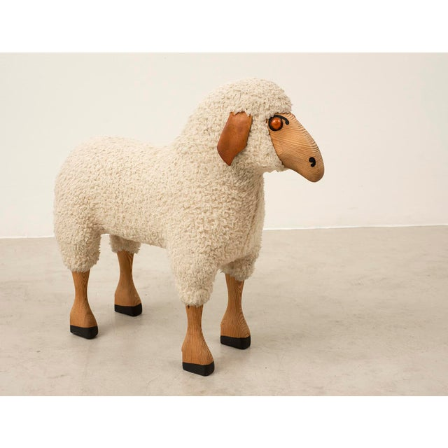 Life-sized sheep sculpture in sheepskin and beech in the spirit of the work of Francois-Xavier Lalanne. Germany, 1970s....