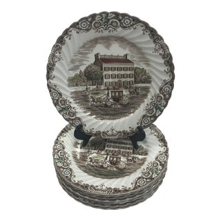 1960s Heritage Hall Georgian Townhouse Ironstone Dinner Plates - Set of 8 For Sale