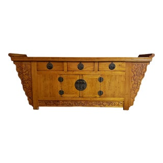 19th Century Chinese Elm Winged Coffer Cabinet For Sale