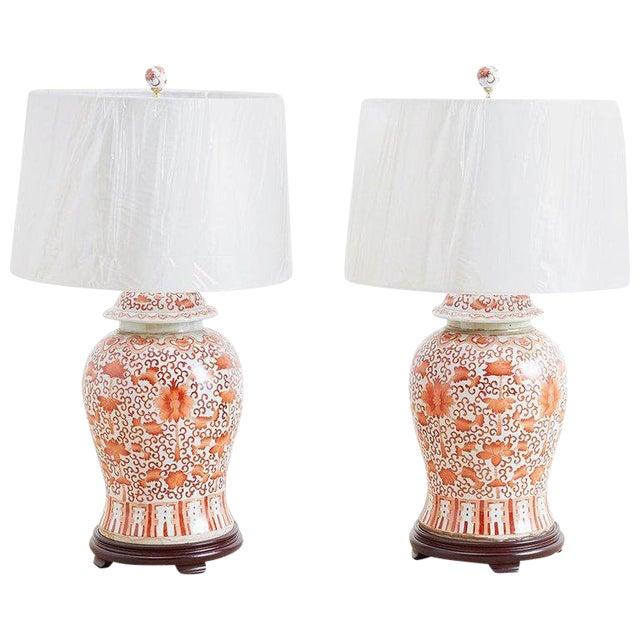 Pair of Chinese Porcelain Floral Ginger Jar Lamps For Sale