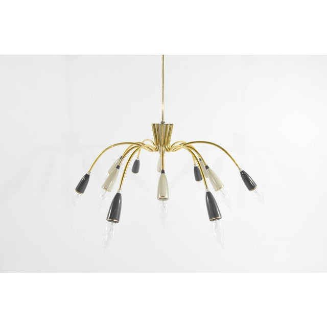 "Brass ""Sputnik"" chandelier, twelve brass arms ending in alternating ivory and charcoal enameled sockets. Newly polished..."