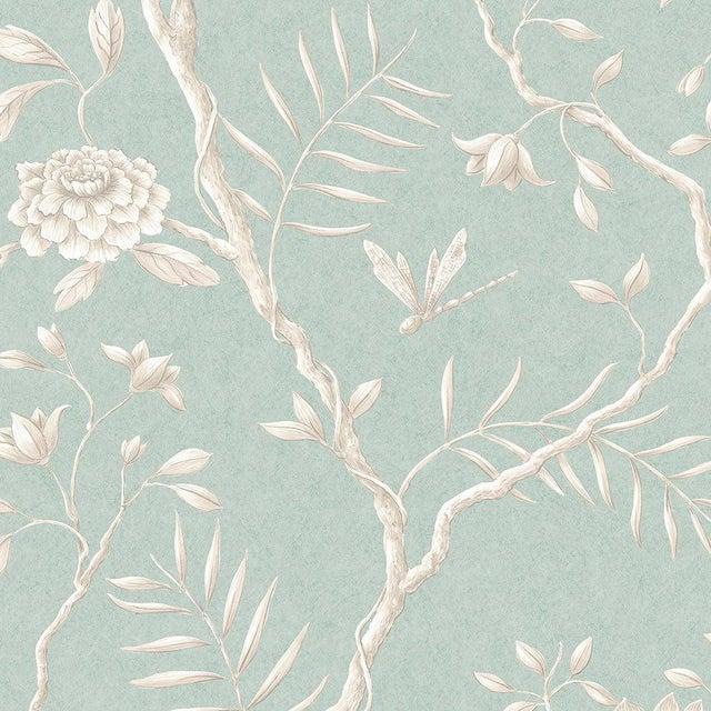 Lewis & Wood Jasper Peony Green Glaze Botanic Style Wallpaper Sample For Sale - Image 4 of 4