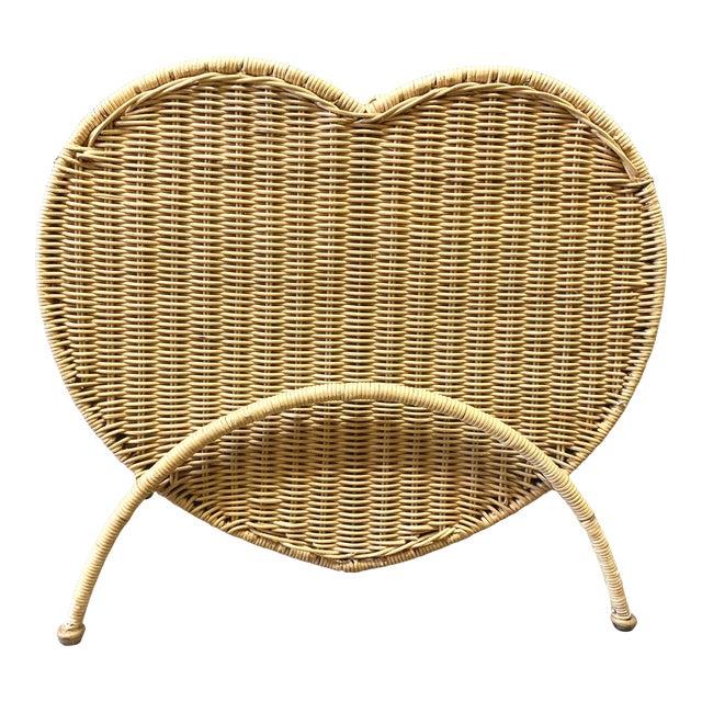 Vintage Rattan Heart Shaped Storage Laundry Hamper For Sale