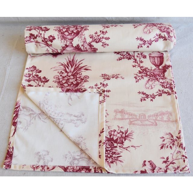 "Abstract Custom French Floral & Urn Toile Table Runner 110"" Long For Sale - Image 3 of 8"