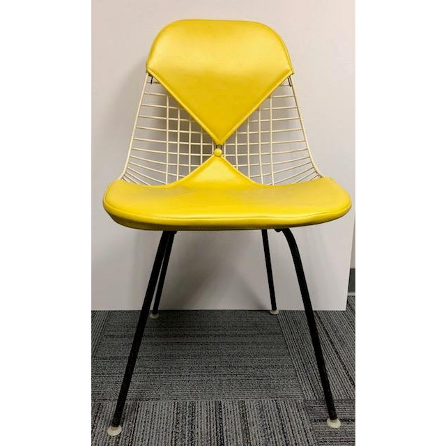 Metal Herman Miller - Eames Mid-Century Modern Yellow Bikini Wire Chair For Sale - Image 7 of 7