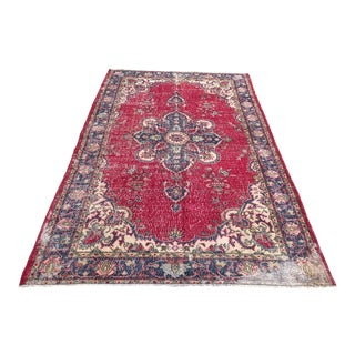 1960s Tribal Oushak Distressed Floor Rug For Sale