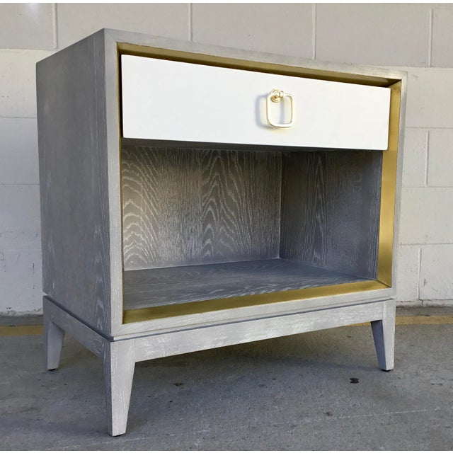 Metal Bungalow 5 Modern Cerused Gray Finished One Drawer Side Table For Sale - Image 7 of 8