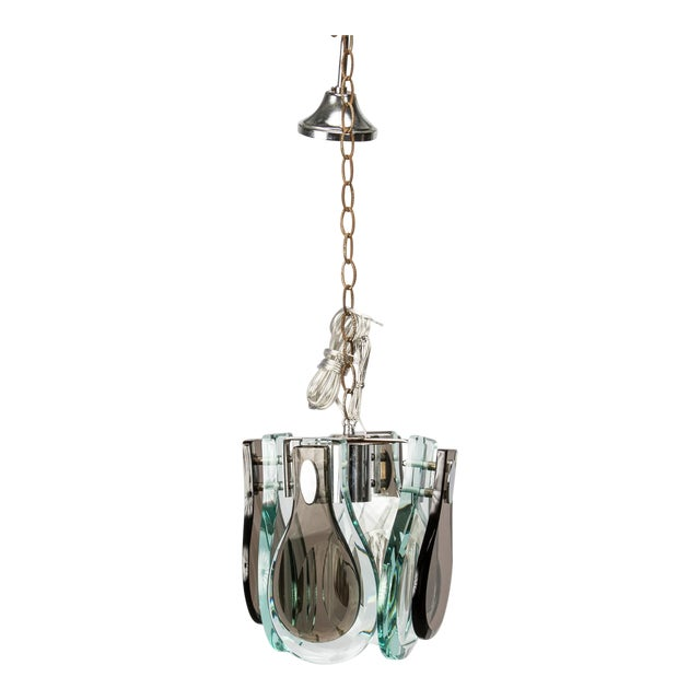 Fontana Art Pendant Light with Tear Drop Glass Panels For Sale