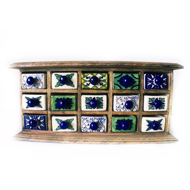 Beautiful handcrafted and hand-painted wood and ceramic apocatherapy herb accent chest cabinet. These apocatherapy...
