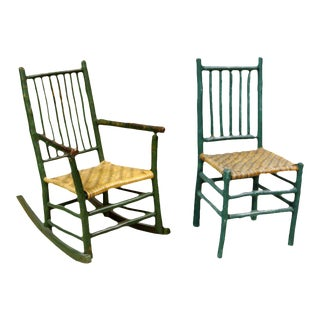 Primitive American Side Chair and Rocking Chair For Sale