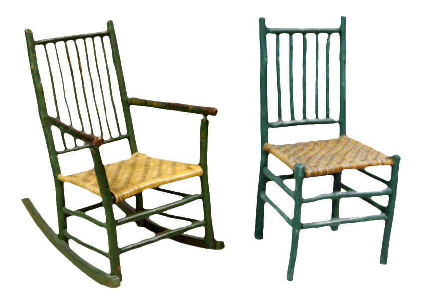Primitive American Side Chair And Rocking Chair