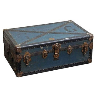 Vintage Mid Century Distressed Blue Trunk For Sale