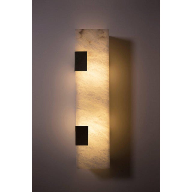 Modern Contemporary 003-2c Sconce in Blackened Brass and Alabaster by Orphan Work For Sale In New York - Image 6 of 7