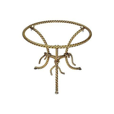 Hollywood Regency Gilt Rope and Glass Top Occasional Table - Image 3 of 4