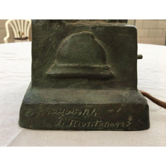 Casandri & Gattai Antique Bronze Hand Sculpture Lamp Cast by Roman Foundry - Image 9 of 11