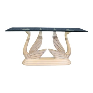 Regency Style Swan Carved Console Table For Sale