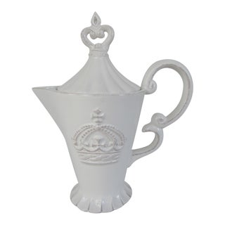 White Ceramic Crown Tea Pot