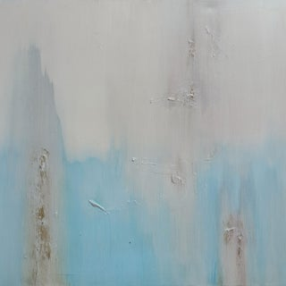 """""""Someone"""" Light Blue & White Abstract Original Painting For Sale"""