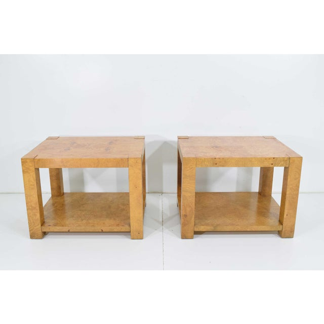 Pair of Milo Baughman Burl Wood End Tables or Nightstands For Sale In Dallas - Image 6 of 10