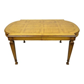 Vintage Karges Italian Provincial Parquetry Inlay Top Dining Table W/ 3 Leaves For Sale