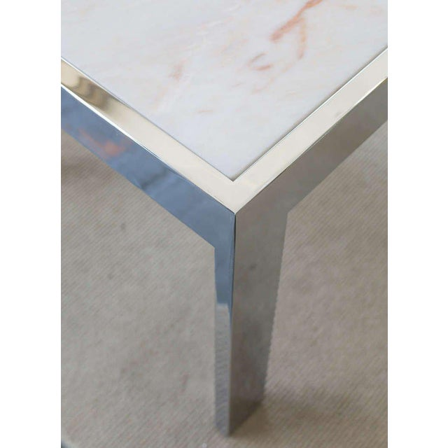 Marble & Steel Side Tables - A Pair For Sale - Image 4 of 6