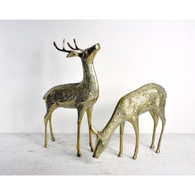 Vintage Brass Deer - A Pair - Image 2 of 2