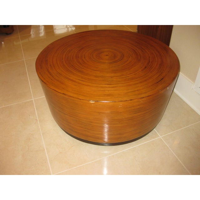 """Wood Mid-Century Modern Round Drum Low Table 30"""" For Sale - Image 7 of 12"""