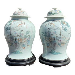 Early 20th Century Large Chinese Export Figural Ginger Jars on Pedestals - a Pair For Sale