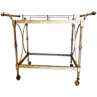 Hollywood Regency Two-Tier Serving Cart in a Faux Marbleized Design For Sale