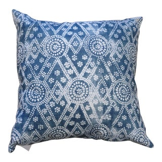"Boho Chic Blue Patterned 22"" X 22"" Pillow For Sale"