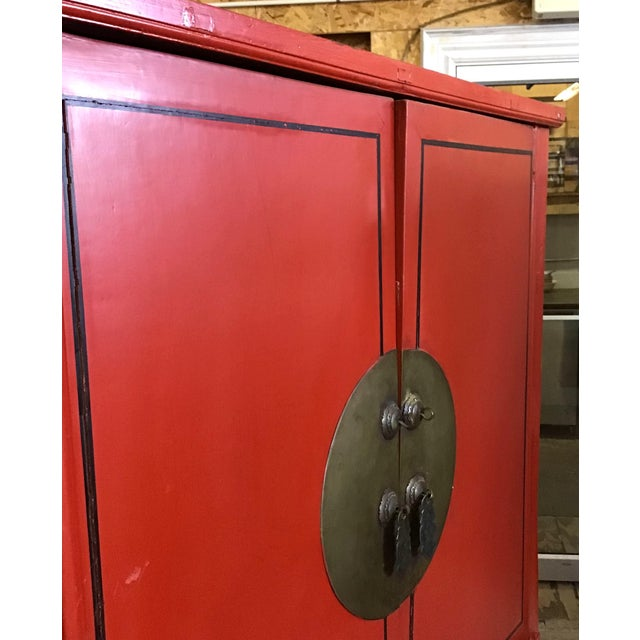 Antique Chinese Red and Black Tall Armoire For Sale - Image 9 of 13