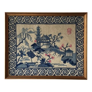 Vintage Needlepoint Asian Blue Willow
