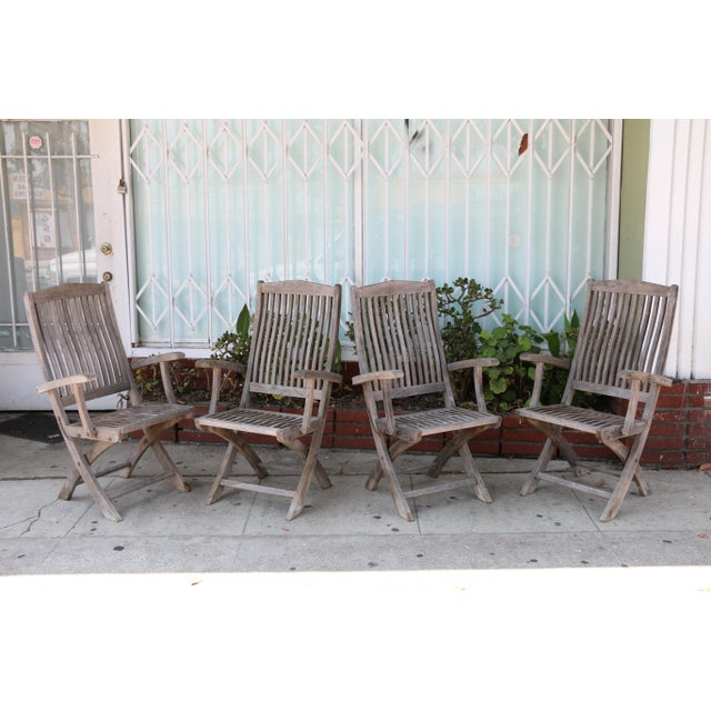 Vintage Set of Teak Outdoor Patio Chairs For Sale - Image 9 of 13