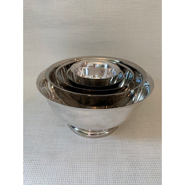 Silver Set of 5 Silverplate Revere Bowls For Sale - Image 8 of 8