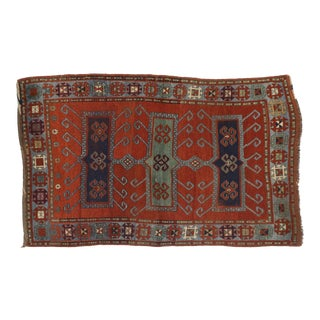 Late 19th Century Antique Caucasian Kazak Rug - 4′4″ × 6′8″ For Sale