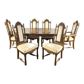 Italian Renaissance Style Wood Upholstered Dining Set