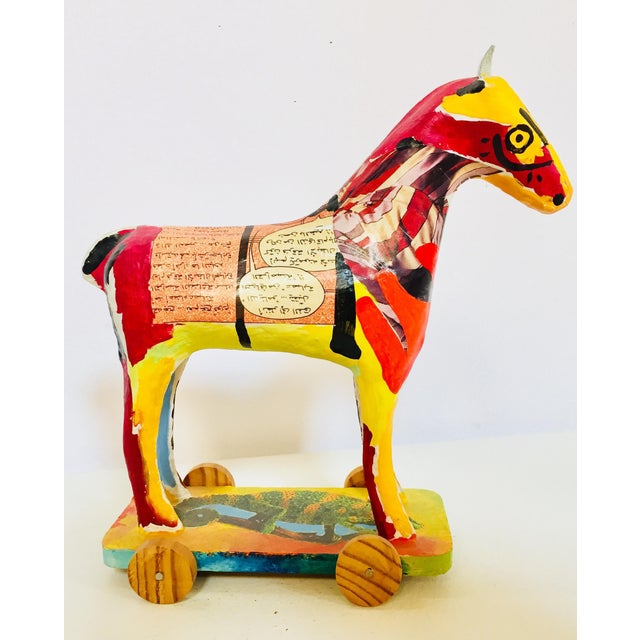 Papier Mâché Sculpture of a Horse in Polychrome Arabic Writing For Sale - Image 12 of 12