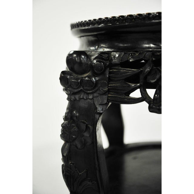 19th C. Chinese Carved Marble Inlay Round Side Table For Sale In Atlanta - Image 6 of 13