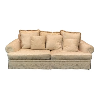 Century Custom White Upholstered Sofa For Sale