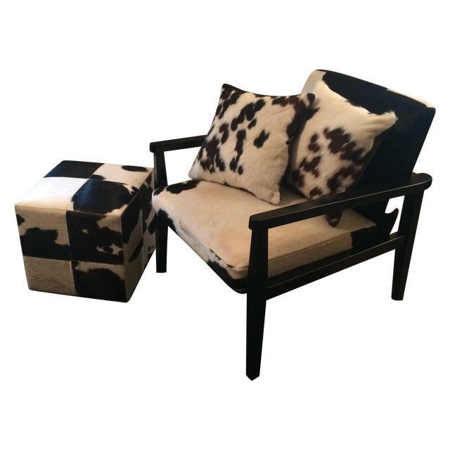 Mid-Century Genuine Cowhide Accent Chair & Ottoman - Image 1 of 11