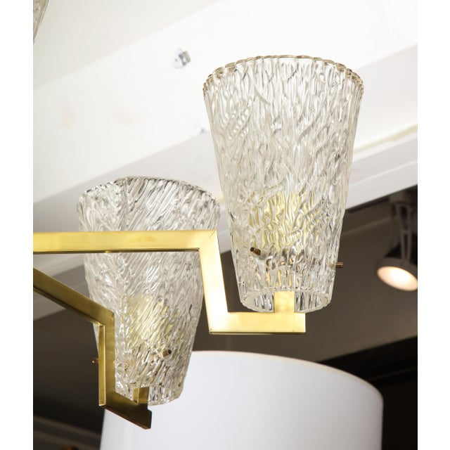 Mid 20th Century Sculptural Brass and Glass Six-Arm Hanging Light Fixture For Sale - Image 5 of 9