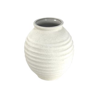 1960s Mid-Century Modern Ribbed White Textural Haeger Jar For Sale