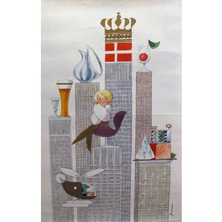 1964 Original Danish Poster, New York World's Fair (Mermaid, Helicopter), by Antoni
