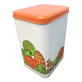 Vintage Mushrooms Lidded Tin For Sale