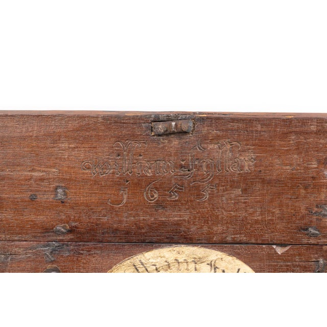 A 17th Century Carved Oak Box With Side Drawer Dated 1655. For Sale - Image 11 of 13