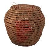 Image of Vintage Woven Lidded Basket For Sale