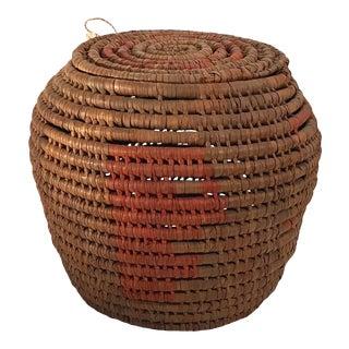 Vintage Woven Lidded Basket For Sale